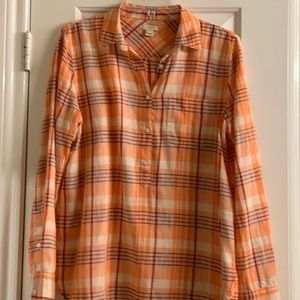 J. Crew Orange Plaid Blouse size S